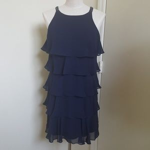 Short Navy Tiered Dress With Sequin Shoulder Strap